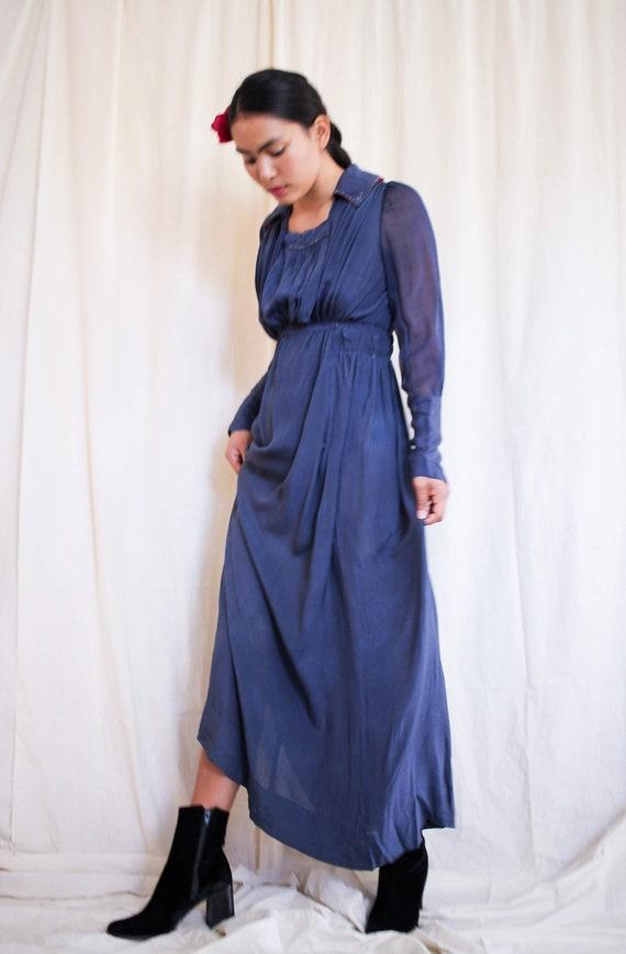 antique edwardian blue chiffon beaded dress