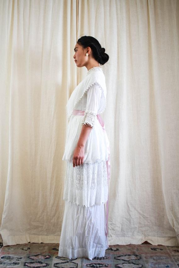 antique edwardian cotton voile white tiered weddi… - image 9