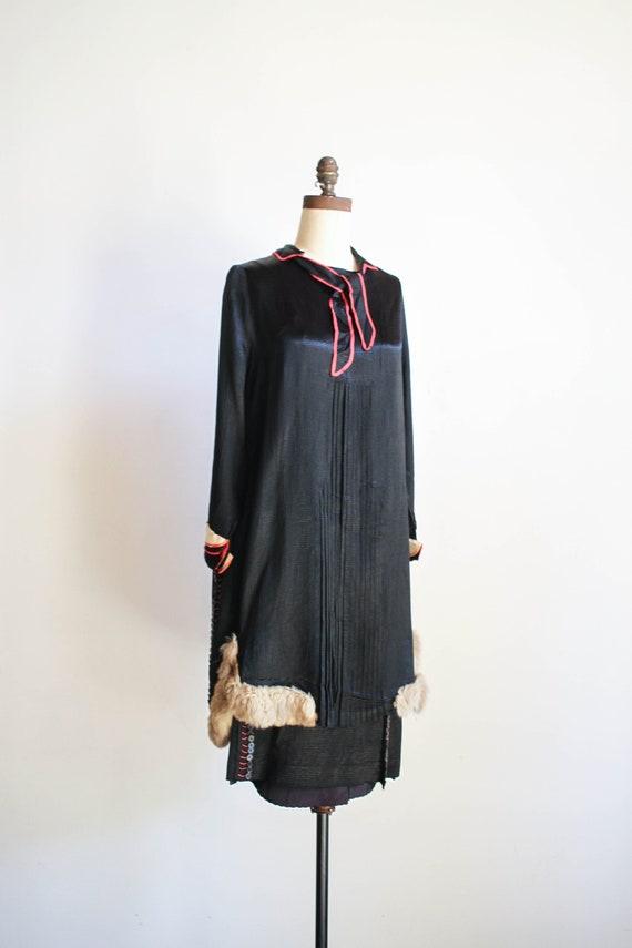 antique rare 1920s silk fur-trimmed dress set