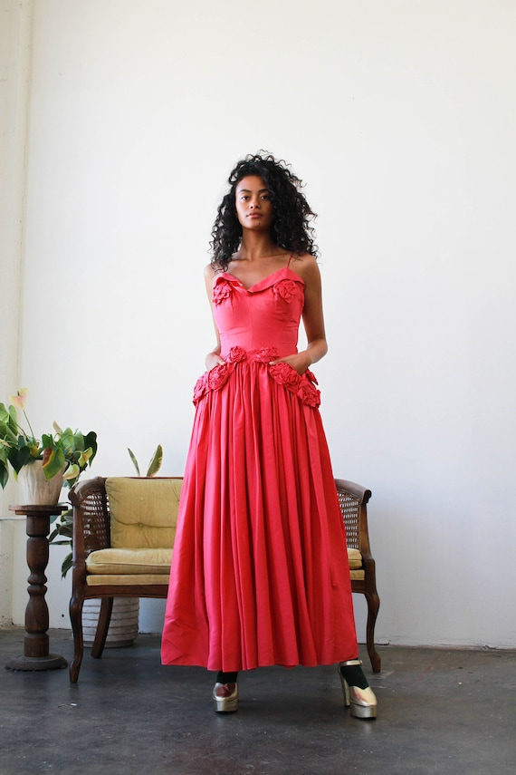 vintage 1940s fuschia rosette taffeta gown