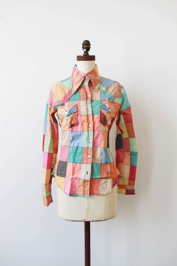 1970s deadstock indian cotton patchwork button up