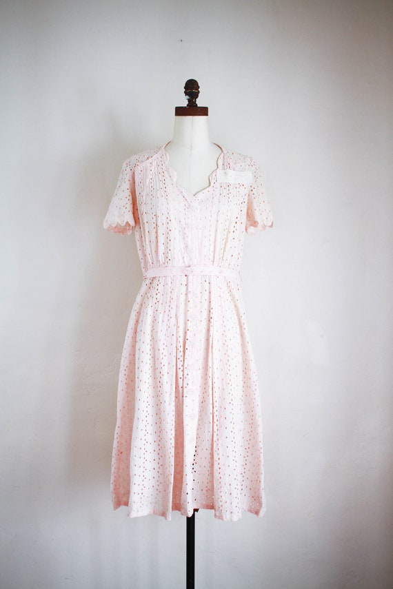 antique 1930s pink eyelet kate's dress