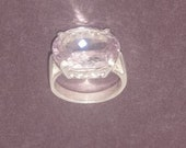 Amethyst cut and sterling silver ring size 9