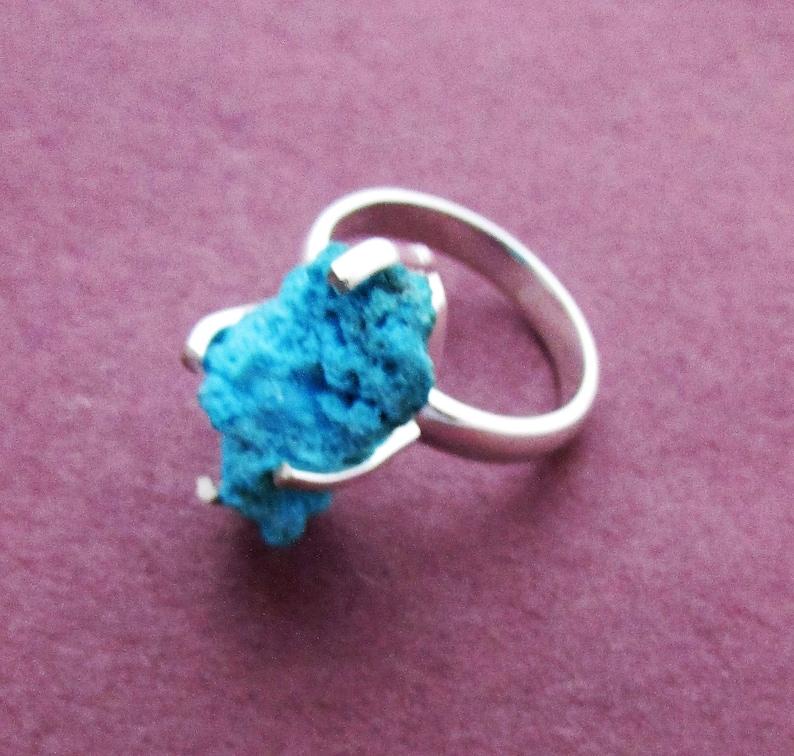Turquoise rough silver rings size 9 Arizona sleeping beauty