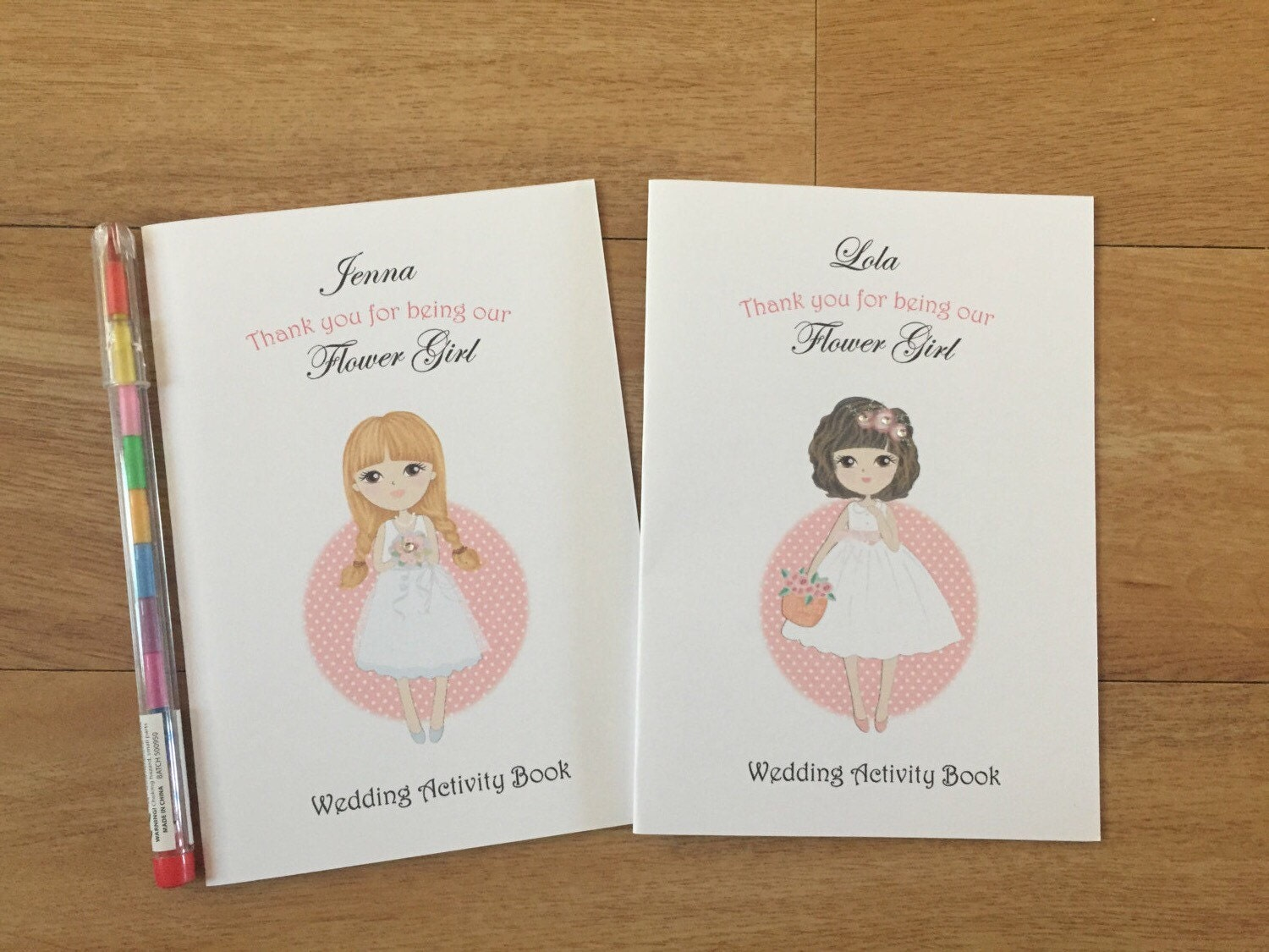 A6 Personalised Flower Girl Wedding Activity Pack, Colouring ...