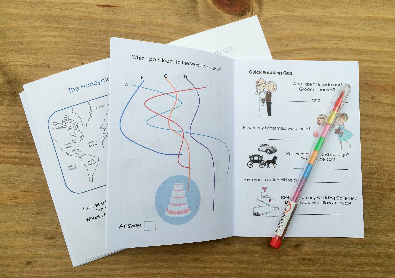A6 MINECRAFT Inspired Childrens Kids Wedding Activity PackFavour