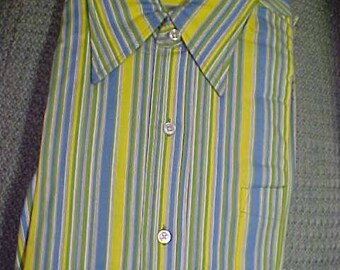 Vintage Blue and Yellow Stripe Mans shirt, 14 1 /2 x 3, No IroningStore stock #3199