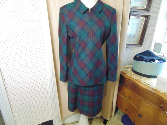Vintage Halston Suit Muted Green & Red Plaid   si… - image 1