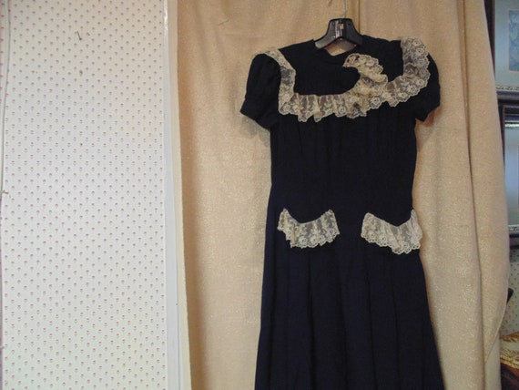 Vintage 1930s Navy Crepe and Lace Dress, Round Nec