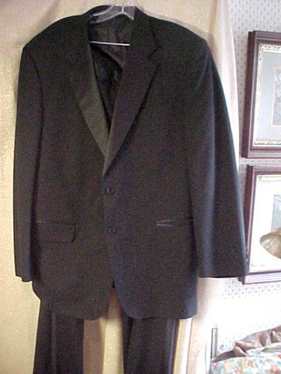Vintage Black Tux with Black Satin Lapels Wool, Size 43 R, Jones New York,