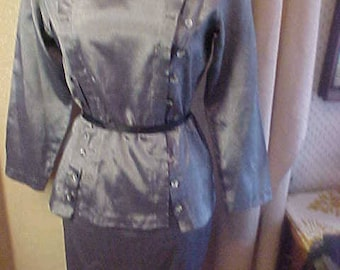 Vintage Silver Grey Dress. has Peplum,  Round Neck, Med/Large #3217