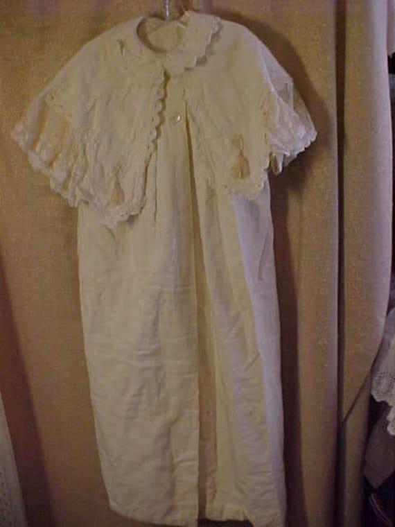 Antique Innfants Christening White Cotton Robe, La