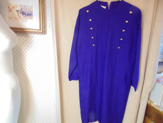 Vintage Adele Simpson Blue Linen Dress,     #4028