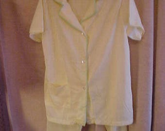 Vintage 50s  Yellow Nylon PJ's  Yellow wih Green Trim.  Size 34