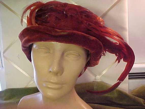 Antique Edwardian Orange Velvet with Feathers Hat,