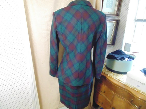Vintage Halston Suit Muted Green & Red Plaid   si… - image 2