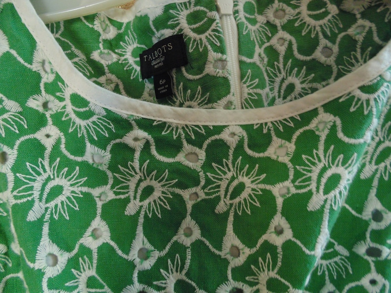 6p    #9155 lined Vintage Green /& White Eyelet  Cotton Dress