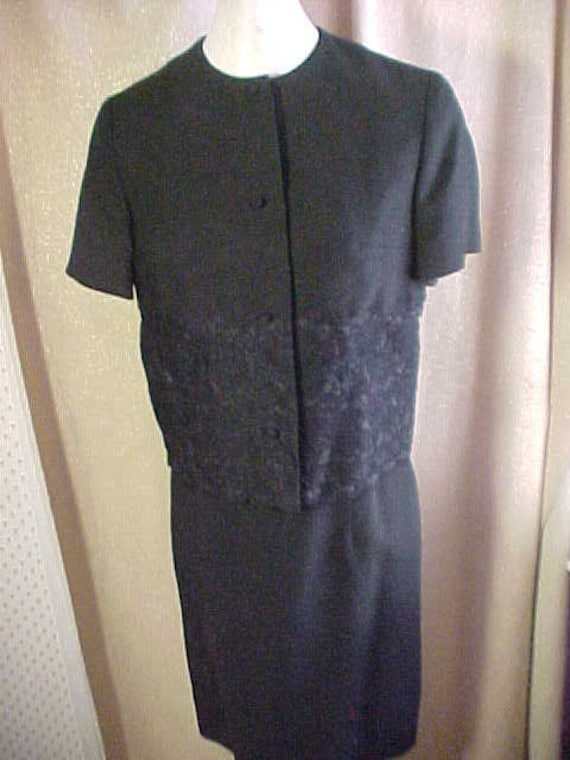 Vintage Anne  Fogarty Black Linen Dress with Jacke