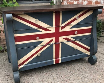 Antique Hand Painted Distressed Vintage Styled Union Jack 19th Century Four Drawer Empire Dresser