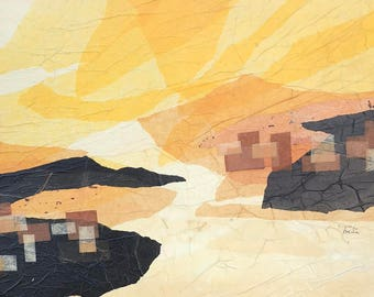Vintage Mid Century Mixed Media Yellow and Black Paint and Paper Collage of an Abstract Desert Town Scene
