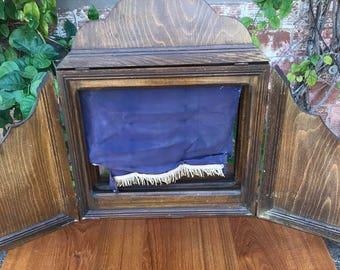 Antique Wooden Collapsible Portable Doll or Puppet Stage with Original Fringed Purple Curtain