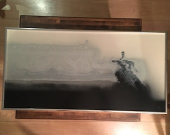 Vintage Mid Century White and Black Oil Painting Possibly by Carl Loeffler (circa 60s)