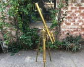 Vintage Styled All Brass Floor Telescope and Tripod