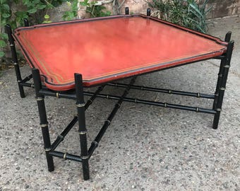 Vintage Mid Century Hollywood Regency Chinoiserie Faux Bamboo Coffee Tray Table in Distressed Red, Black, and Gold by Baker Furniture