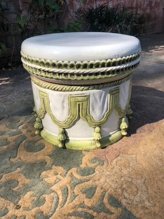 Pleasing 1960S Vintage Italian Terracotta Indoor Outdoor White And Green Ottoman Garden Stool Pabps2019 Chair Design Images Pabps2019Com