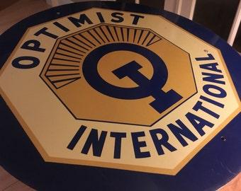 Vintage large Optimist International round mid century sign