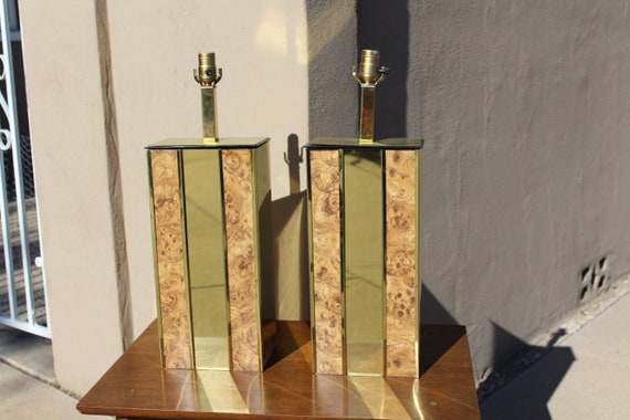 Deens Design Vintage Bank.Pair Of Vintage Brass And Burl Rectangular Table Lamps By Etsy
