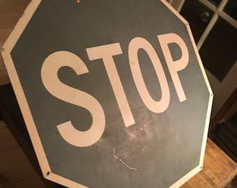 Unusual Vintage Grey Aluminum Stop Sign