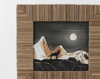 Howling Wolf Cardboard Art Full Moon Shining on Snow Mountains 3D - Eco-friendly Interior Animal Decor Wall Hanging Original Art Upcycled