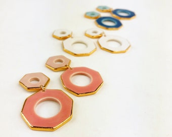 NEW! Octavia statement stud earrings edged in 22K Gold Luster Overglaze on Ceramic Stoneware