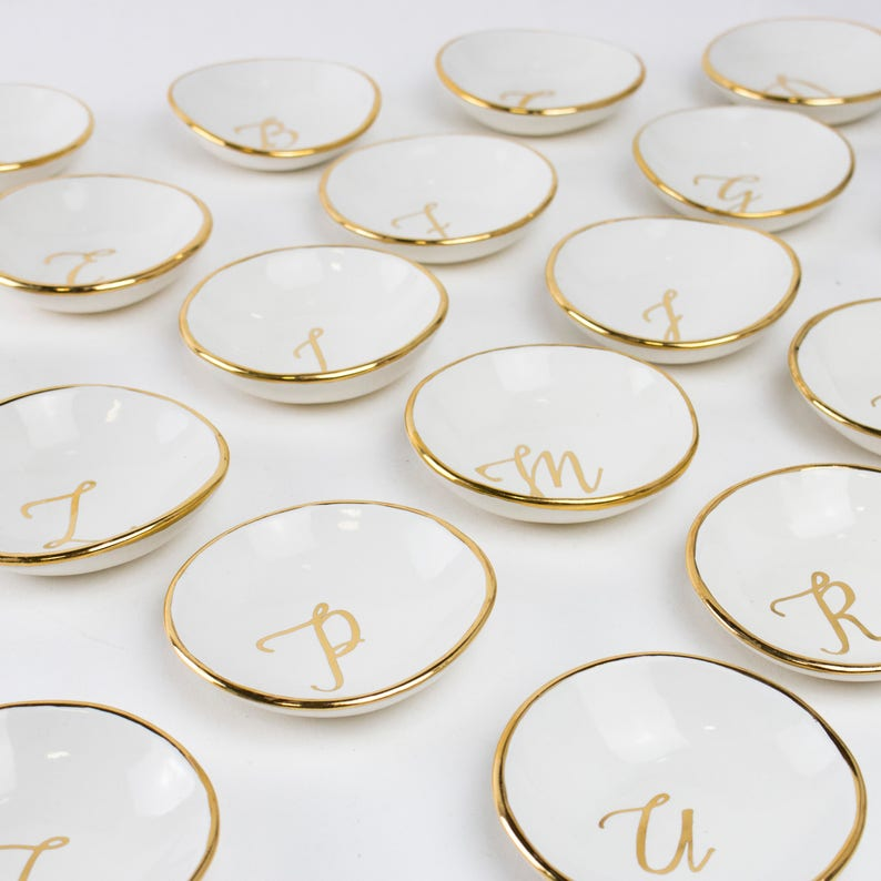 Bridesmaids or Hostess Gifts Package of Monogram Initial Calligraphy ceramic Round Ring Dish in white adorned with 22K gold edges NEW