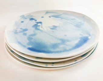 """12"""" Dinner Plates- Watercolor French Blue - READY to be shipped"""