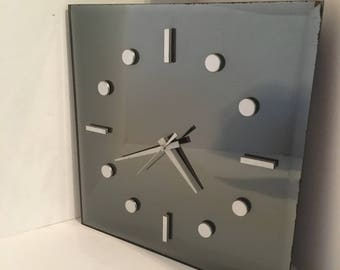Retro Truflect Black Mirrored and Chrome Square Wall Clock
