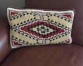 Vintage Needlepoint Throw Pillow - Hobo Aztec Design