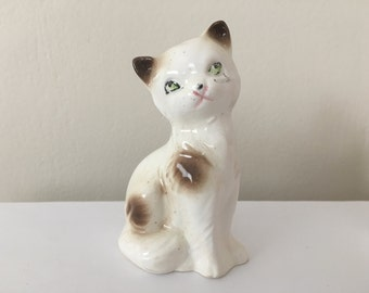 Ceramic Japan White and Brown Calico Cat Figurine