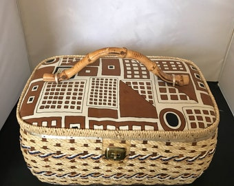 Vintage Abstract Sewing Basket