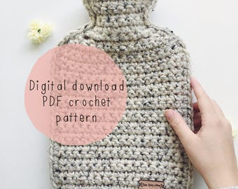 Chunky Hot Water Bottle Cover - Crochet PDF PATTERN