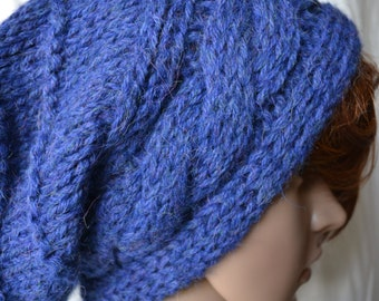 Hand Knit Slouchy Hat,Midnight Blue Alpaca Hat, Textured Hat, Chunky Knit Hat