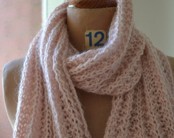 Hand  knitted scarf soft pink Rose Bud