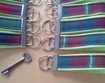 Key Fob, Key Wristlet, Roxburgh Tartan fabric,Scottish gift.