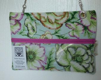 Slim line pouch handbag, cross body, or shoulder bag.Philip Jacob fabric-Poppy