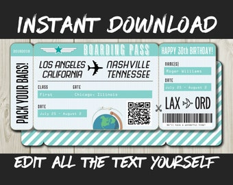 DIY Printable Editable Boarding Pass Surprise Fake Airline Ticket Trip Gift Print At Home Airplane Flight Destination Plane Download Mint