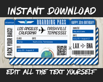 DIY Printable Editable Boarding Pass Surprise Fake Airline Ticket Trip Gift Print At Home Airplane Flight Destination Plane Download Blue
