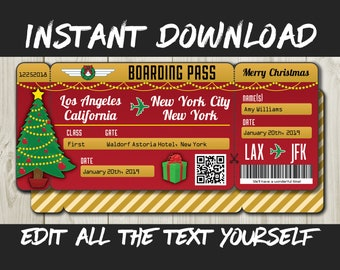 Printable Editable Boarding Pass Surprise Fake Airline Ticket Trip Gift Print At Home Airplane Flight Destination Plane Christmas