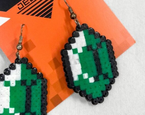 Green Gemtastic earrings with a white sheen