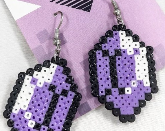 Purple Gemtastic earrings with a white sheen